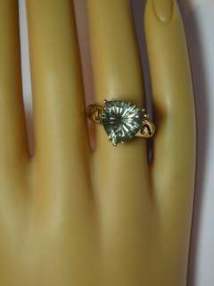 STUNNING GREEN AMETHYST TRILLION CUT ESTATE 10K YELLOW GOLD RING N/R