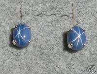 7X5MM LINDE BLUE STAR SAPPHIRE CREATED SS EARRINGS