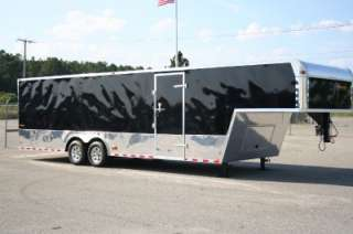 5X32 GOOSENECK ENCLOSED CARGO AUTO CAR HAULER RACE TRAILER BLACK