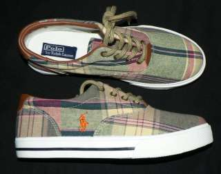 Youth Polo Ralph Lauren Vaughn shoes sneakers new girls 4.5 plaid
