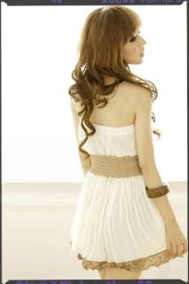 Korea Womens Strapless Lace Top Tunic Chiffon Mini Clubwear Dress
