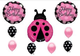 PINK MAGENTA LADYBUG Birthday Party Balloons Polka Dots Decorations