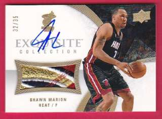 SHAWN MARION 07 08 UD EXQUISITE 4CLR JERSEY PATCH (LOGO) ON CARD AUTO