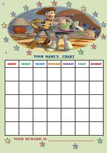TOY STORY 3 personalised Reward Chart + Stickers.