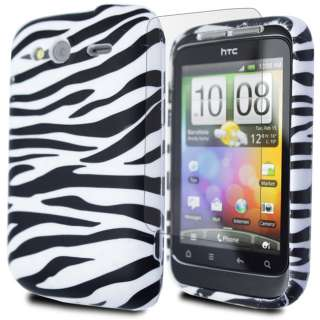 FOR HTC WILDFIRE S WHITE ZEBRA PRINT SOFT TPU GEL CASE COVER + SCREEN