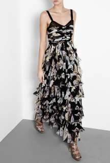 Butterfly Print Tiered Chiffon Gown by D&G