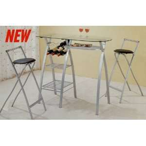 Finish Metal Bar Table Stool Chair Set w/ Wine Rack Furniture & Decor
