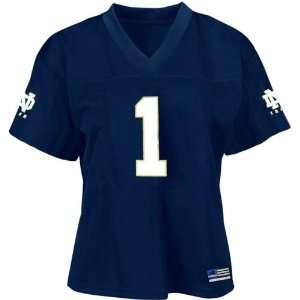 com Adidas Notre Dame Fighting Irish #1 Navy Ladies Replica Football