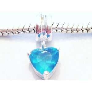 Authentic 925 sterling silver Heart dangle blue charm fits pandora