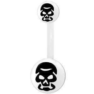 White Black Skull Belly Ring Jewelry