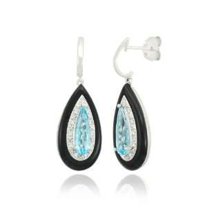 10k White Gold Teardrop Blue Topaz Onyx Diamond Earrings (1/14 cttw, I