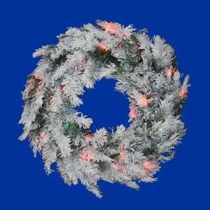 Lit Flocked Alaskan Artificial Christmas Wreath   Multi Dura Lights