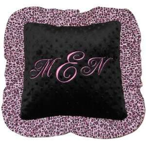 Personalized Pink Leopard Ruffle Embroidered Baby Pillow