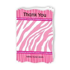 Pink Baby Zebra   Personalized Baby Thank You Cards With