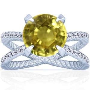 Platinum Round Cut Yellow Sapphire Ring With Sidestones Jewelry