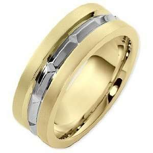 8mm 14 Karat Two Tone Gold Wedding Band Ring   7.75