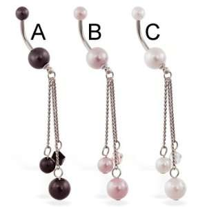Double pearl belly ring with pearl dangle, white   C