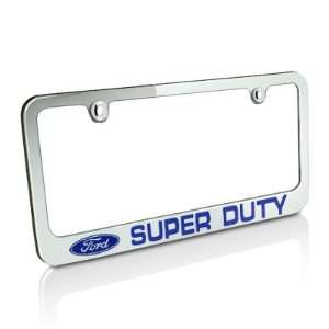 Ford Blue Super Duty Chrome Metal License Plate Frame