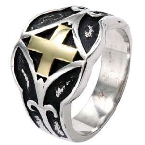 Stainless Steel Biker Ring With Gold Plated Cross Black Plated Center
