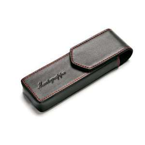 Montegrappa Two Pen Pouch   Black Leather Red Stitches