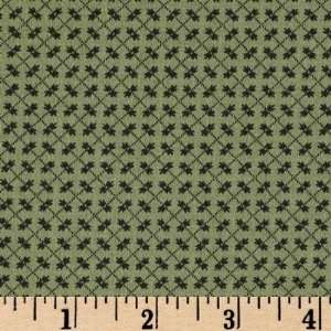 44 Wide Arabesque Tiny Flowers Green Fabric By The Yard
