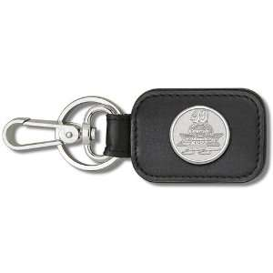 Leather Key Chain and/or Luggage Tag w/ 3/4 Sterling Silver Pendant