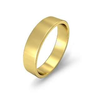5g Mens Flat Wedding Band 5mm 14k Yellow Gold Ring (10.5) Jewelry