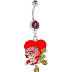 Strawberry Shortcake Heart Ruby Red Gem Dangle Belly Ring Jewelry