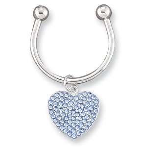 Light Blue Swarovski Crystal Key Ring Jewelry
