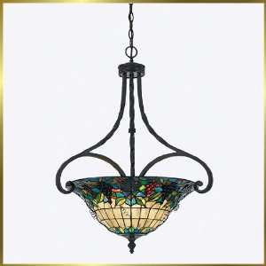 Tiffany Chandelier, QZTFFR2825VA, 3 lights, Antique Bronze, 24 wide X