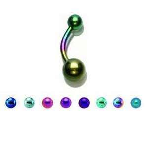 Dark Purple Titanium Belly Ring with 5/8mm Balls   14G (1