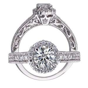 14k White Gold Round Brilliant Cut Diamond Engagement Ring