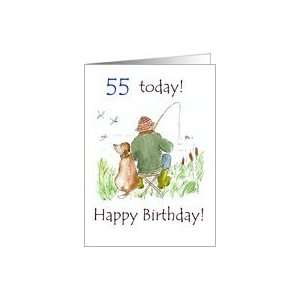 55th Birthday Card with a Man Fishing Card Toys & Games