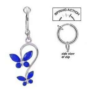 Fake Belly Navel Non Clip on Piercing 2 Blue Saphire Butterfly Dangle