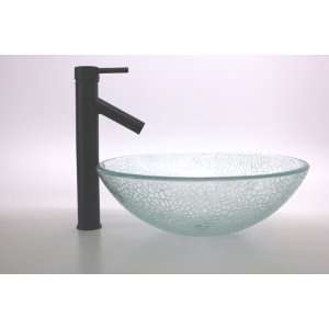 1/2 Thickness Clear Round Crack Style Glass Vessel Sink