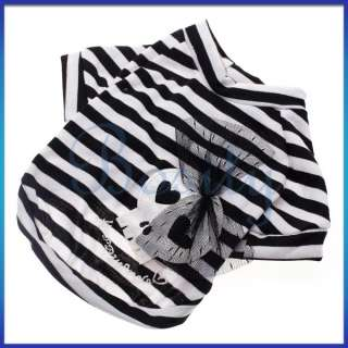 Cool Skull Stripe White Shirt Pet Dog Puppy T Shirt Coat Clothes