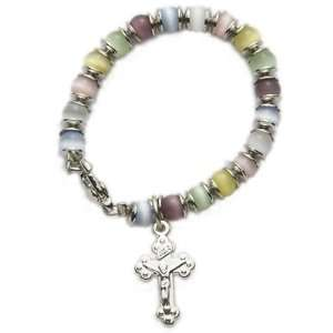 Multi Color Beads Baby Bracelet with Crucifix Charm Christian Jewelry