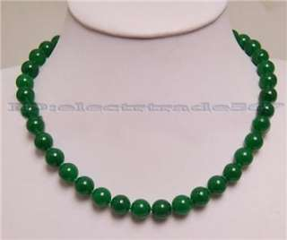 18Beautiful REAL 10mm green jade bead necklace