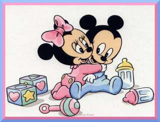 Baby Mickey and Minnie edible cake image topper